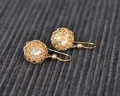 14K Gold Filled Crochet Earrings with Swarovski AB Crystals - Free Shipping