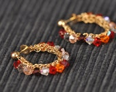14K Gold Filled Crochet Hoop Earrings With Swarovski crystals- Free Shipping