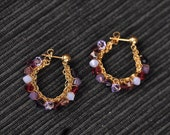 14K Gold Filled Crochet Hoop Earrings With Swarovski crystals - Free Shipping