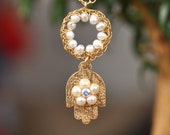 Handmade 14K Gold Filled HAMSA Necklace with Lace Crochet and Pearls  - Free Shipping