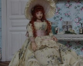 Handmade beautiful dollhouse porcelain doll in scale 1:12