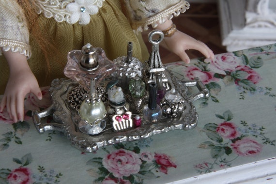 Handmade wonderful little tray with ladys stuff in scale 1:12