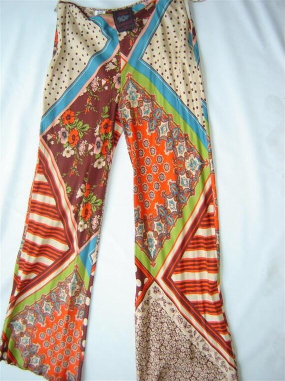 Jean Paul Gaultier Multi Print Boho Chic Silk Pant On Sale