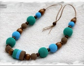 RESERVED FOR VERA - Nursing necklace in green, light blue and mocha