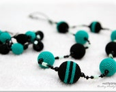 Nursing Mom Necklace in teal mint and black