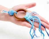 Teething Toy - Teething ring with crochet wooden bead in light blue, blue, turquoise