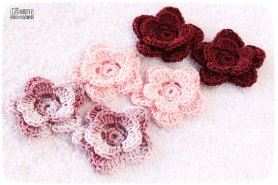 Reserved for Diana Set of 6 crochet flower appliques - old pink, baby pink and burgundy