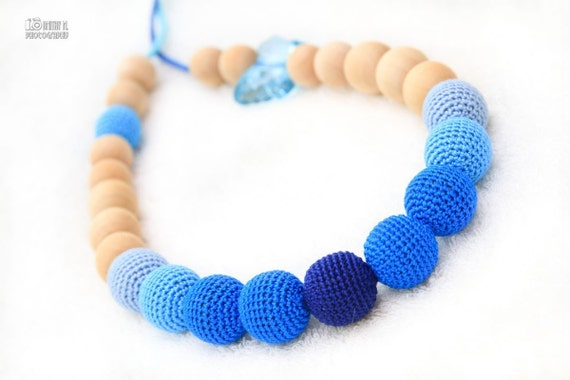 OOAK Certified Organic Nursing necklace/Teething necklace - crochet bead necklace for mom and baby in Dark blue, Turquoise and Ice blue