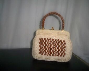Vintage Rafia Beaded Purse With Beaded Handles