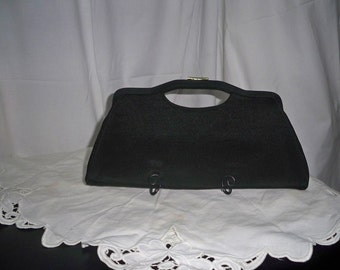 Vintage Black Cloth Clutch Purse