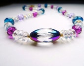 Necklace of Swarovski Crystals, Iridescent Glass Spacers, and Faceted Glass Focal Bead.