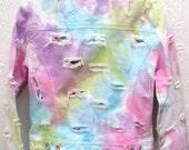 Vintage Rainbow Tie Dyed and Destroyed Distressed Gap White Denim Jacket