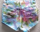Totally Rad Rainbow Tie Dyed Destroyed White Denim Cut Off Shorts Size 6 Size XS