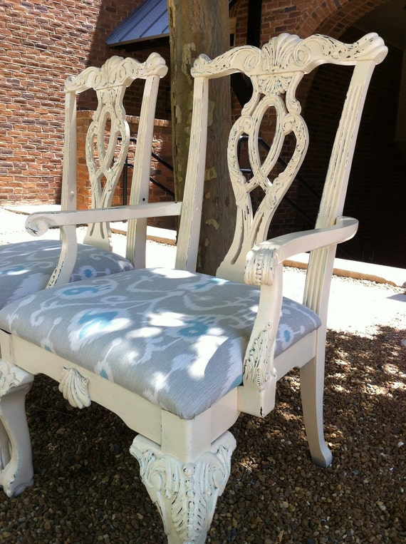 Sale Pair Of Shabby Chic Accent Chairs By Throneupholstery