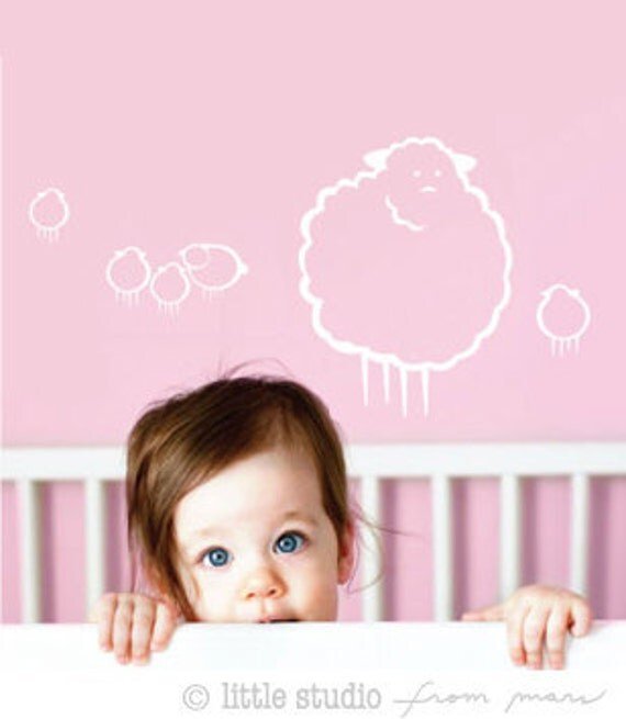 Wall Decals for Baby Nursery Decor - Animal - Sheep collection - Counting sheep - Great Newborn Gift