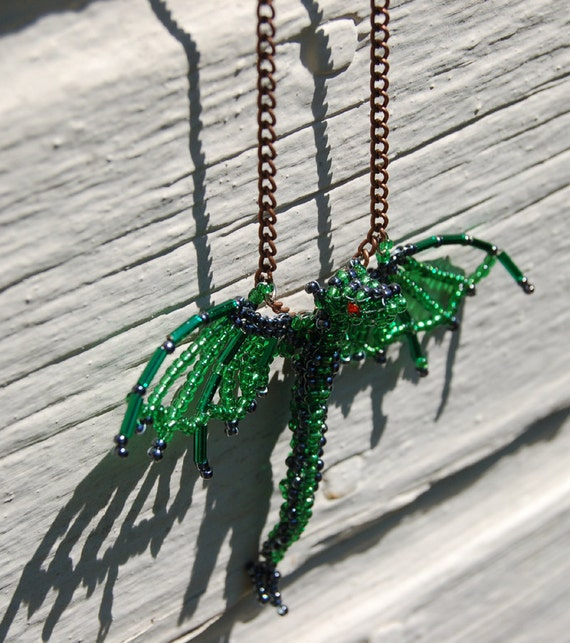 19 Inch Dragon Necklace 3D Beaded Green and Dark Silver