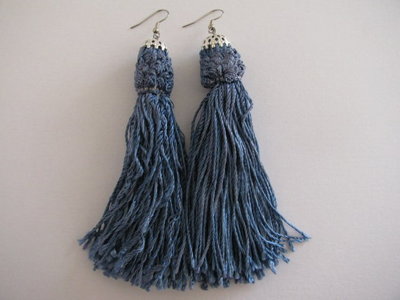 Blue Satin Tassel Earrings