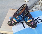 SALE - Custom Painted Toms - Swallow & Dogwood Flowers