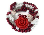 Day of the Dead Memory Wire Bracelet, Sugar Skull, Rockabilly Style Red Rose