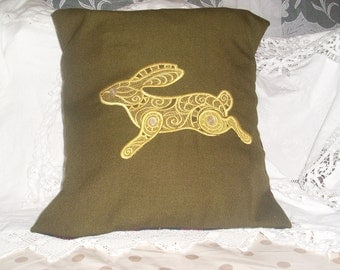 Lace inspired Golden Hare Cushion Cover  with Vintage Button eyes