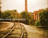 Golden Belt Smokestack- Durham,North Carolina-Vintage Color-Urban-Fine Art Photography-multipleSizes Available-Railroad Tracks