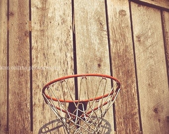 Barn Basketball-Old Farm Basketball Hoop Multiple Sizes Available-Vintage-Color-Fine Art Photography