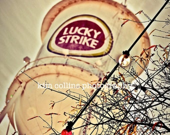 Lucky Strike Lights and Branches-Durham, North Carolina-Vintage-Cityscape-Multiple Sizes Available-American Tobacco-Fine Art Photography