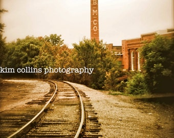 Golden Belt Smokestack- Durham,North Carolina-Vintage Color-Urban-Fine Art Photography-multipleSizes Available-Railroad Tracks