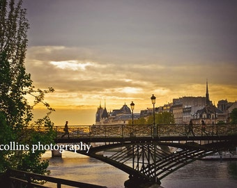 Bridge Over the Seine at Sunset-Fine Art Photography,Paris France,multiple sizes available-landscape-waterways-SunsetBridge-Gift-Photography