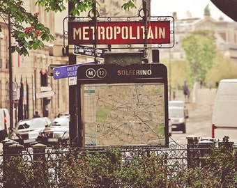 Metro Solferino,Fine Art Photography,Paris,France,multiple sizes available-parisian, subway signs,city living, Paris,France,