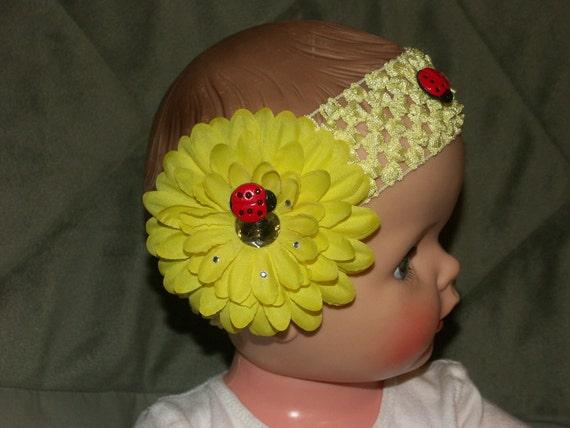 Flower Headband/Yellow/Ladybug