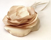 Bridal Fascinator Champagne Flower - Feathers - Hair Pin - Floral Wedding Accessory