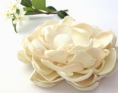 Bridal Hair Accessory - Satin Cabbage Rose Flower - Two Shades of Ivory - Freshwater Pearls