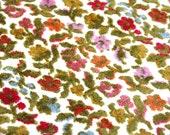 1 Yard Vintage Upholstery Fabric with Raised Velvety Flowers