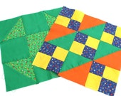 2 12x12 inch Vintage Fabric Quilt Blocks