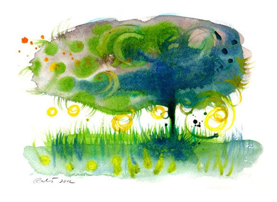 Blue tree with green leafs  - watercolor print 8.5 in x 11 in, 21cm x 29.5cm