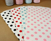 20 Large Polka Dot Paper Bags - You pick color