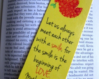 Peace Bookmark - Red, Yellow and Green Dove, Mother Teresa Quote - Multiples Available