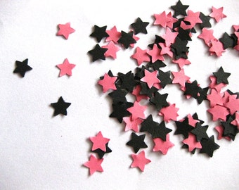 Mini Star Confetti Black and Pink Star Punch Outs - Set of 100