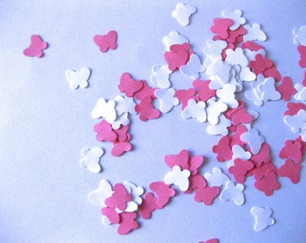 Mini Butterfly Confetti White and Pink Butterfly Punch Outs - Set of 100