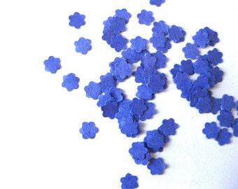 Mini Flower Confetti Dark Blue Flower Punch Outs - Set of 100