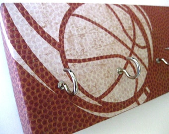 "Basketball Key Rack, Hat Rack, Jewelry Holder Gift for Him, Sports FEELS like a basketball with raised texture, Brown and White ""Basketball"""