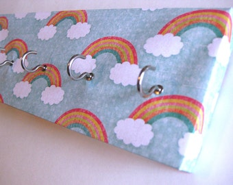"Jewelry Holder and Key Rack - ""Rainbow"" Clouds and Rainbows, Red, Orange, Yellow, Green, Blue, White Polka Dots (5 nickel hooks)"