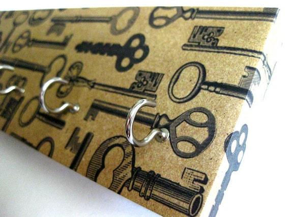 """Key Rack and Jewelry Holder  - """"Vintage Keys"""" -  Antique Brown, Tan, Beige, Vintage Rustic Keys, Old Keys, Black and Brown"""