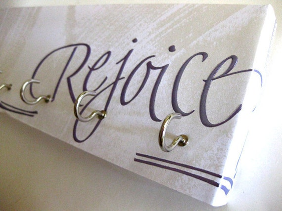 "Key Rack and Jewelry Holder - ""Rejoice "" Purple, Silver, Metallic, Shiny, White - 5 nickel hooks"