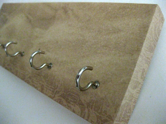 """Key Rack and Jewelry Holder - """"Natural Sand"""" Sandy, Earthy, Earth-tones, Natural, Light Brown, Beige, Organic - 5 nickel hooks"""