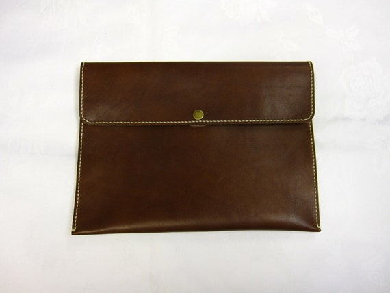 SALE iPad Case Leather brown envelope hand-stitched FREE SHIPPING