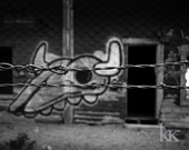 Modern Petroglyph - black and white photograph, fence, 8x10