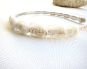 Spring Bride - Rose Lace Ivory Skinny Headband - Ready to Ship Wedding Hair Accessories