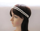1920 Style Lovely Double Pearl Headband / Wedding Head Piece - Ready to Ship Hair Accessories